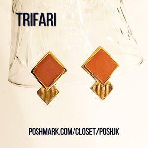 TRIFARI Vintage Enamel Clip On Earrings
